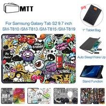 MTT קריקטורה מקרה לסמסונג גלקסי S2 9.7 אינץ SM T810 SM T815 עור מפוצל מגנטי Flip פי Tablet מקרה Fundas T813 T815 t819