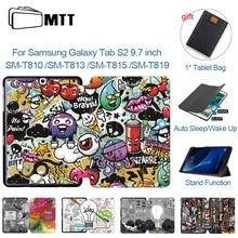 Мультяшный чехол MTT для Samsung Galaxy S2 9,7 дюйма, Женский Магнитный флип чехол из искусственной кожи, складной чехол для планшета, fundas T813 T815 T819