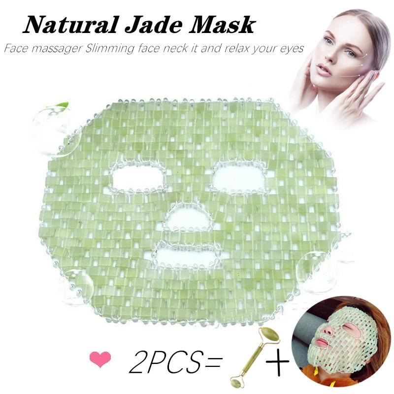 1 комплект, маска для лица с натуральным нефритовым камнем для снятия усталости глаз, маска для лица и сна, Массажная маска для лица, против морщин, холодная терапия|Устройство для ухода за кожей лица|   | АлиЭкспресс