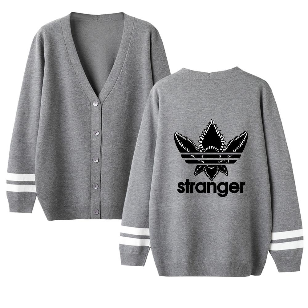Women Sweater Stranger Things Sweater Autumn Streetwear Cardigan Sweater Print V-Neck Long Sleeve Crochet Knit Lovers Sweater