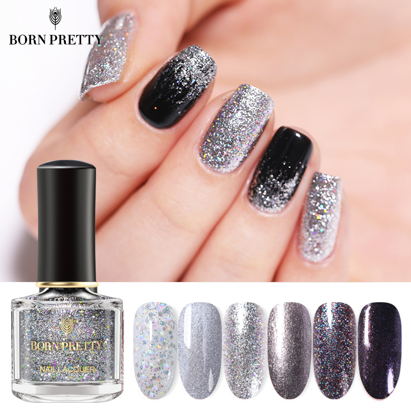 BORN PRETTY Nail Polish 6ml Silver Glittering Nails Varnish Sequins Shining Nail Art Polish Varnish Spring And Summer Series