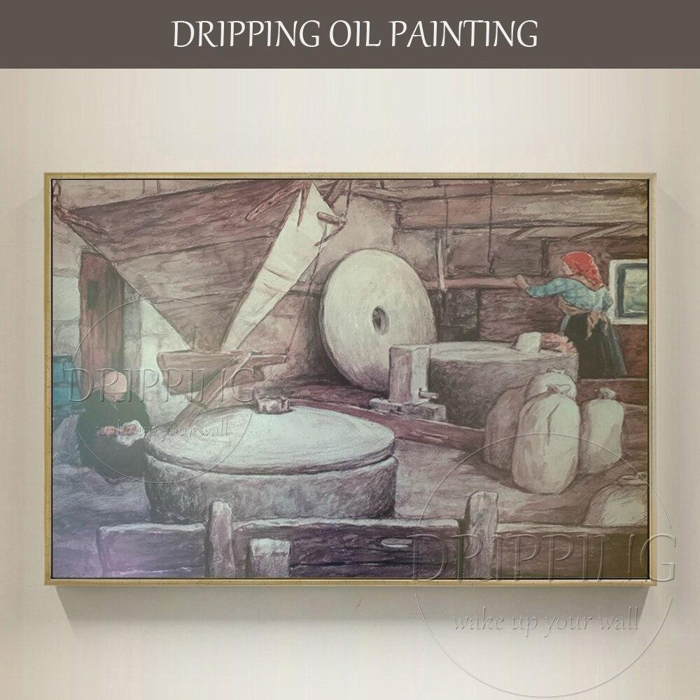 Pure peint à la main la femme dans la salle du moulin peinture à l'huile sur toile impressionniste mur photo peinture femme travail peinture à l'huile-in Peinture et calligraphie from Maison & Animalerie    1