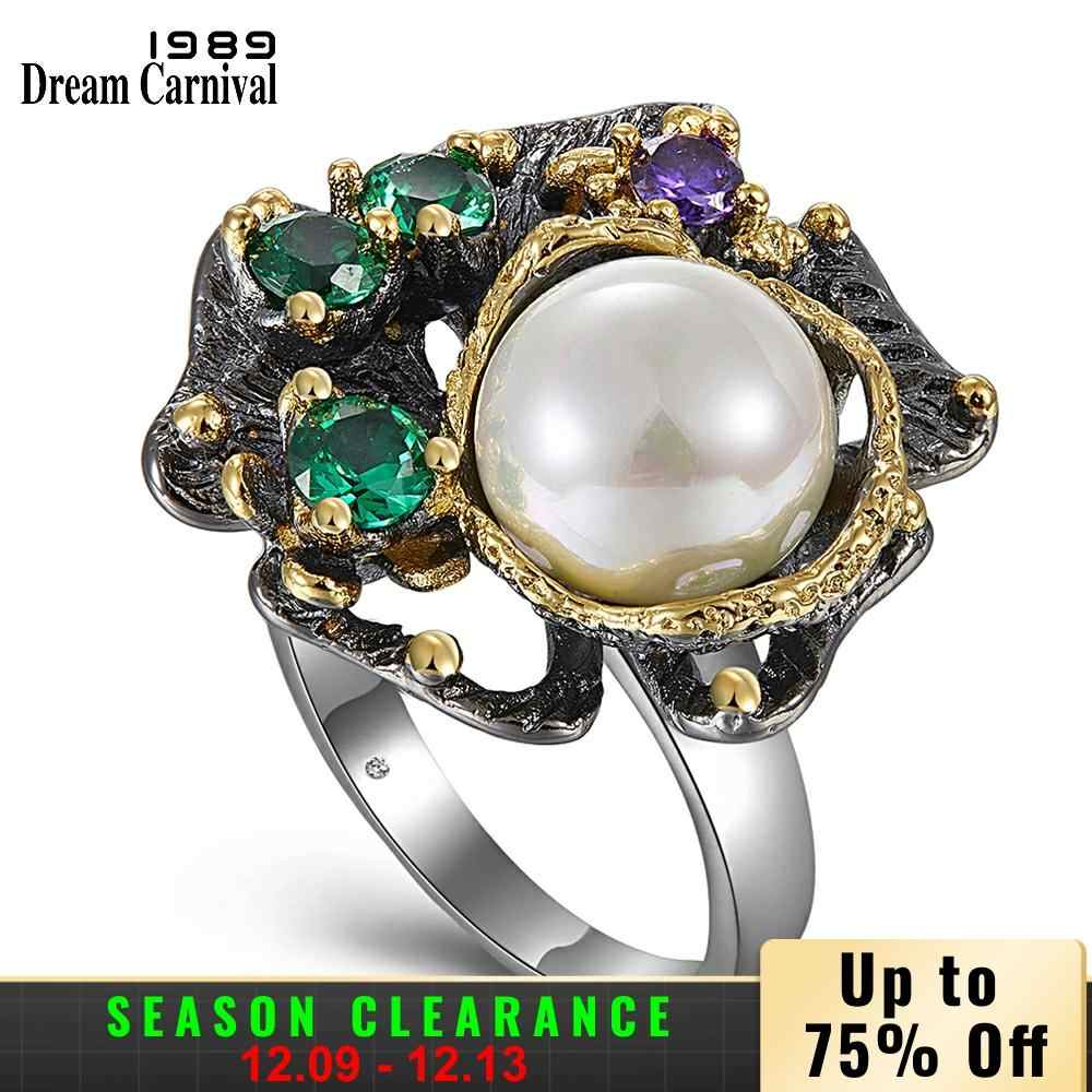 DreamCarnival 1989 New Arrivals Vintage Rings for Women Flower Style with Green Zircon White Pearl Hot Pick Chic Jewelry WA11637