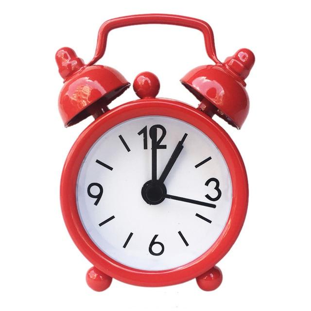 New Mini Alarm Clock Electronic Round Number Double Bell Desk Table Digital Quartz Clock Home Decoration Retro Portable Adapdesk 6