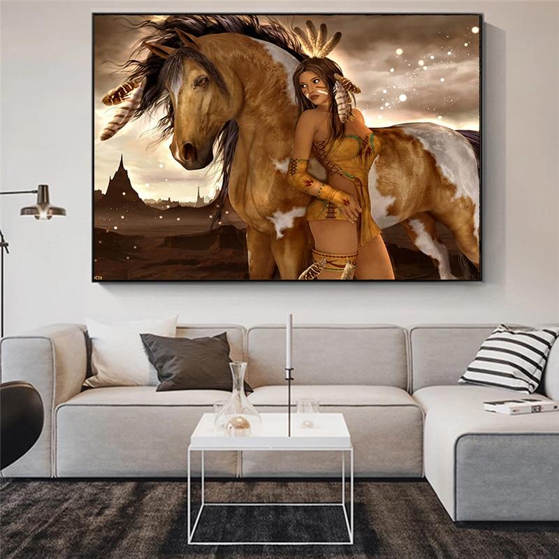 Cavalo indiano nativo figura abstrata nu menina pintura da lona cartazes e impressão da arte parede imagem para sala de estar decoração casa