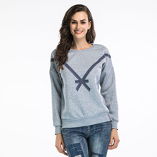 Casual Simple Minimalist Style Sweatshirt Women O-Neck Long Sleeve Bow Print Crop Hoodies Ladies Fashion Autumn Streetwear