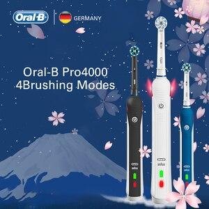 Image 5 - Oral B brosse à dents électrique à ultrasons dents rechargeables blanchiment PRO4000 3D brosse à dents intelligente 2 têtes de dents de brosse de rechange