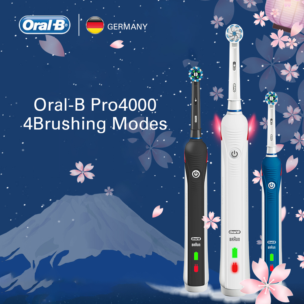 Oral B Electric Toothbrush Rechargeable Teeth Whitening PRO4000 3D Smart Ultrasonic Toothbrush 2 Replacement Brush Teeth Heads