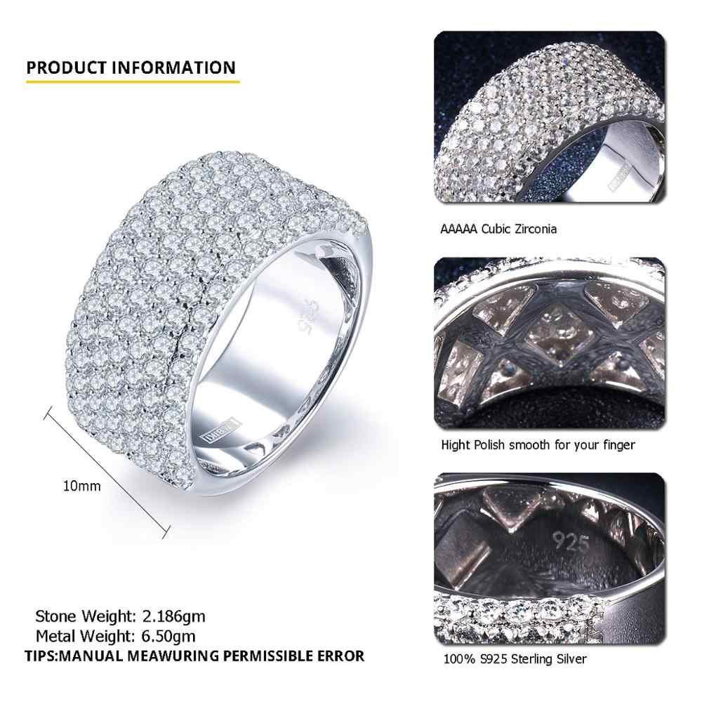 Plata de Ley 925 auténtica anillo clúster circonita cúbica CZ anillos para mujeres compromiso boda joyería de diamante fino nupcial