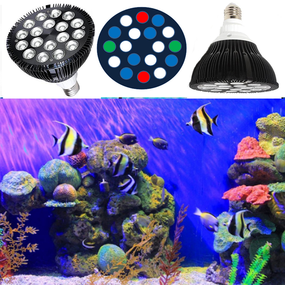 54W LED Aquarium Light PAR38 LED Light Aquarium E27 Bridgelux LED Plant Grow Lamp voor Reef Corals Refugium