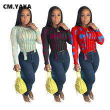 CM.YAYA Activewear Print Draped Patchwork O-neck Irregular T-shirt Fashion Long Sleeve Tee Tops for Women Outdoor