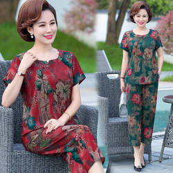 Plus Size Middle Age Women 2 Piece Sets Loose O-neck Casual Flower Print Tops and Wide Leg Pants Suits Fashion Women Sets D93