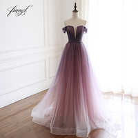 Fmogl Elegant Boat Neck Gradient Pleat Long Evening Dresses 2019 Luxury Beaded Sashes Sweep Train Formal Dress For Party