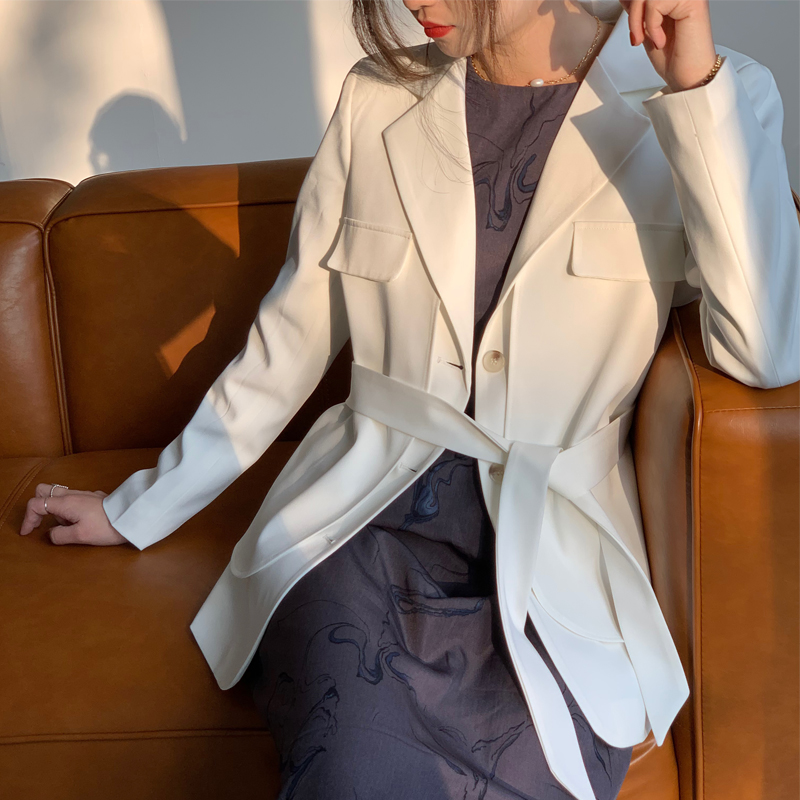 2020 New Spring And Autumn Fake Two Small Suit Fashion Lace Up Waist Ladies Suit Jacket Thin Blazer OF Ladies Blazers NS1853