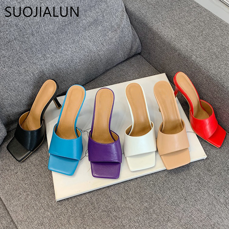 SUOJIALUN 2020 New Summer Women's Slippers High Quality Elegant Square Toe High Heels Sandal Ladies Outdoor Beach Slides Shoes