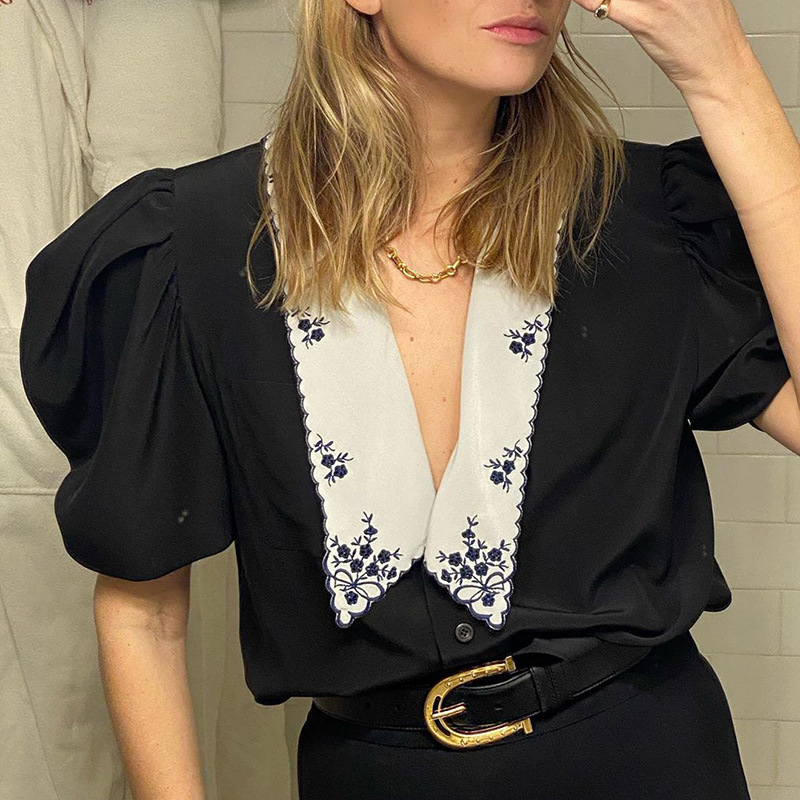 Women Blouse Shirt Fashion Casual Spring Summer Short Puff Sleeve V-Neck Button Female Shirts Loose Fit Top