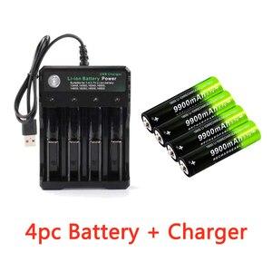 Image 1 - 2/4/8pcs סוללה + 4 חריץ 3.7V 18650 USB מטען מהיר חינם חדש לגמרי פיצוץ 18650 9900mAh נטענת סוללת ליתיום