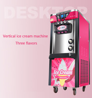 220V Three color commercial desktop soft ice cream machine vertical make ice cream intelligent sweetener ice cream maker
