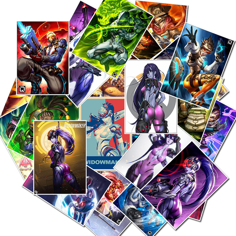 25Pcs School Sticky Notes Papelaria Game Overwatch Black Lily Stationery Sticker Waterproof 2