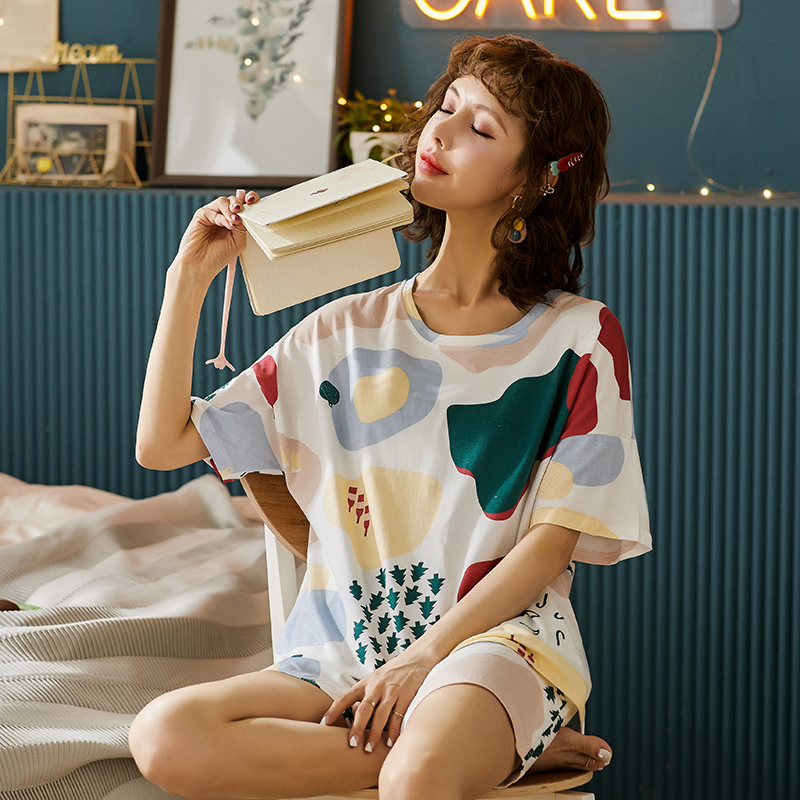 BEZL Cotton Colorful Tee And Shorts Set Women Pajamas Home Wear Short Sleeve Casual Pajama Set Female Loose Sleepwear Loungewear