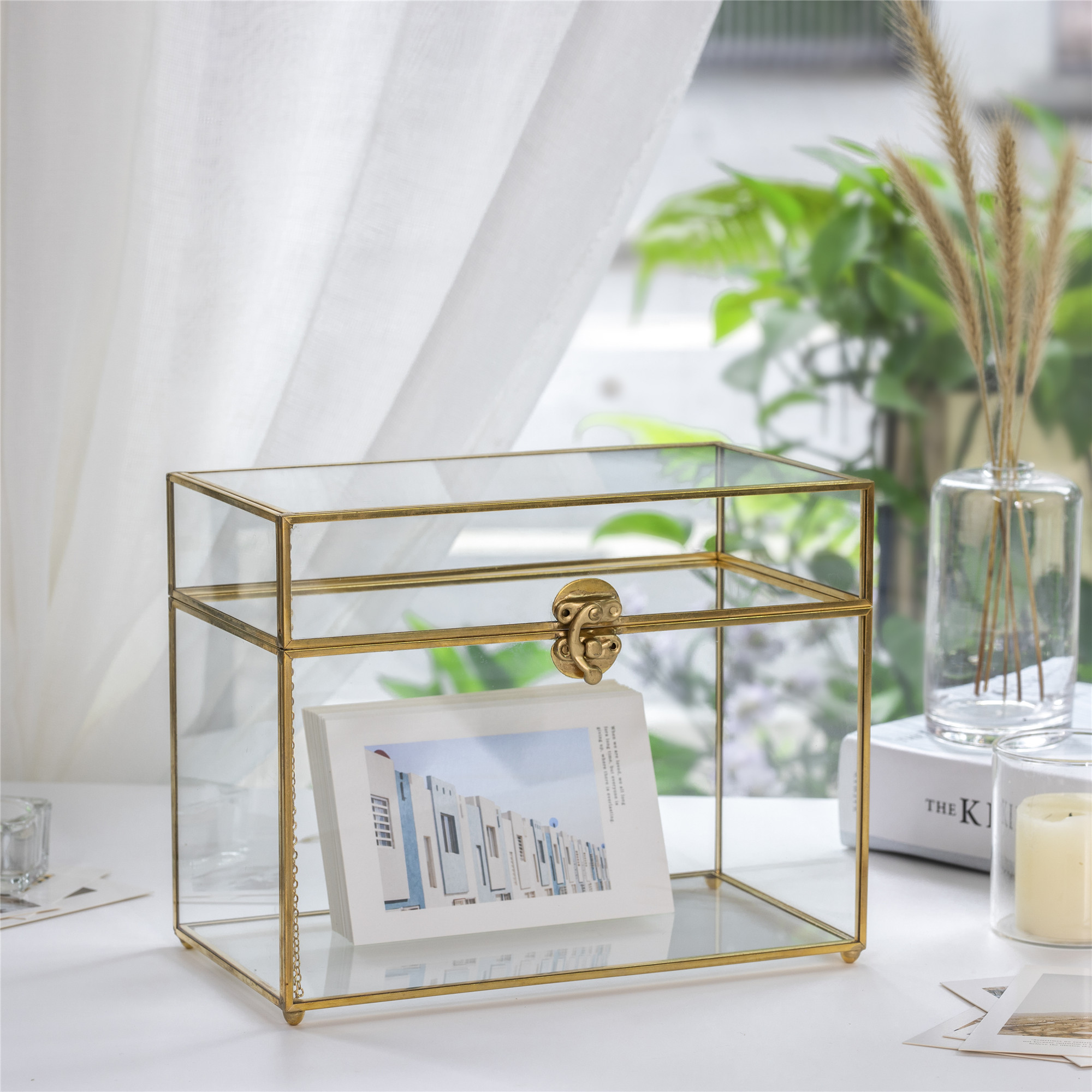 Gold Rectangle Wedding Card Box Glass Display Gift Organizer DIY Wishing Well Celebration Home Party Wedding Card Box