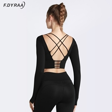F.DYRAA Back Cross Tight Sport Top Gym Yoga Shirts Women Long Sleeve Workout Fitness Crop Top With Chest Pad Running Clothing