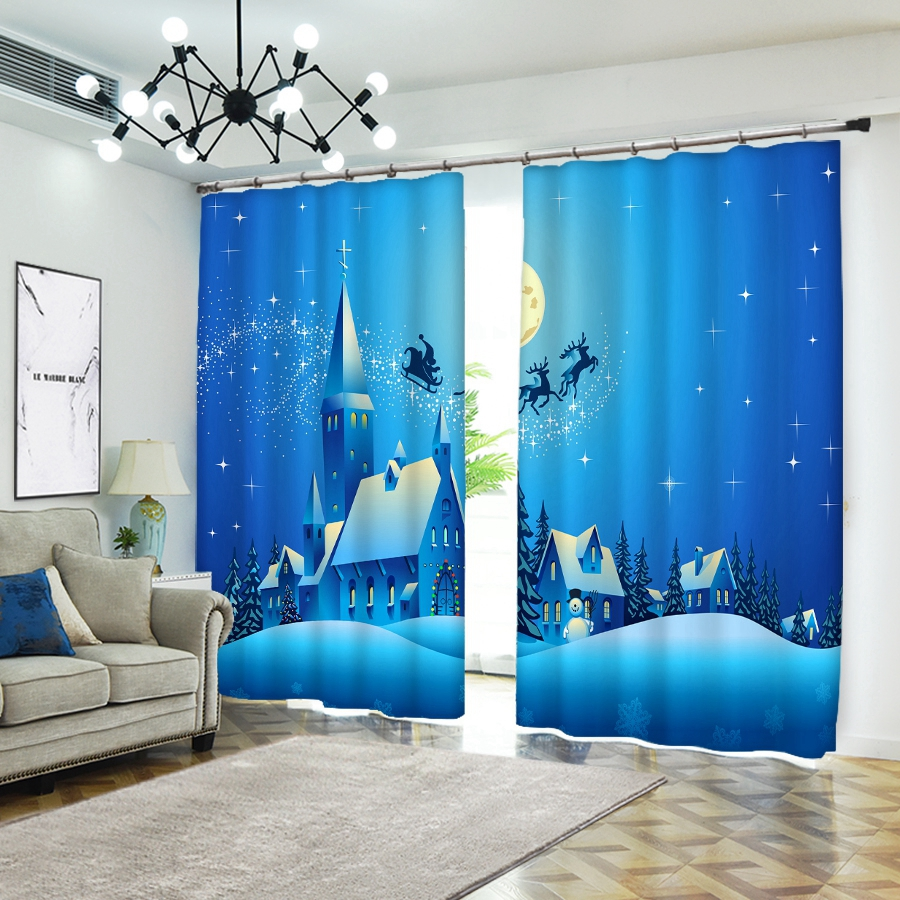 Personality 3D Blackout Curtains To Map Custom Size Shop Theme Hotel Happy New Year Christmas Gift Ins Style Decoration Cartoon