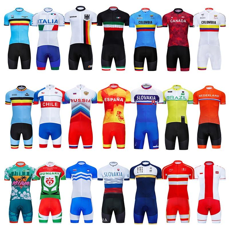 2021 National Team Cycling Jersey Bib Set MTB Uniform Bicycle Clothing Bike Clothes Wear Summer Men's Short Maillot Culotte Suit