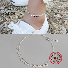 925 S'STEEL Sterling Silver Anklets For Women Geometry Circle Chaine De Cheville Bracelet Femme Foot Acessorios Leg Fine Jewelry