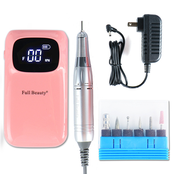 1Set Portable Electric Nail Drill Manicure Machine Pen Pedicure Nail File 6 Bits 2.35mm Drill For Nail Art Tools Kit LAUS806