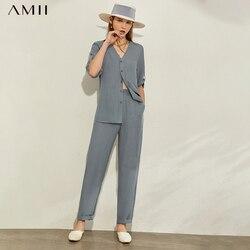 AMII минимализм, весна-лето, Модный комплект из 2 предметов, однотонная Свободная Женская рубашка с v-образным вырезом, прямые женские повседне...
