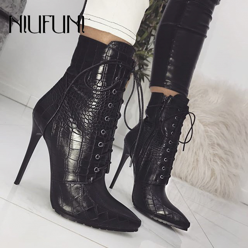 Black Snakeskin Grain Ankle Strap Boots For Women Stiletto High Heels Pointed Toe Zip Ladies Shoes Sexy Lace-Up Boots Size 35-42