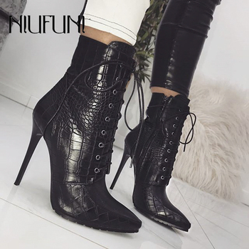 Black Snakeskin Grain Ankle Strap Boots For Women Stiletto High Heels Pointed Toe Zip Ladies Shoes Sexy Lace-Up Boots Size 35-42 sorbern pointed toe women boots ankle high heels ladies boots fashion shoes cut out zipper ankle boots for women big size 45