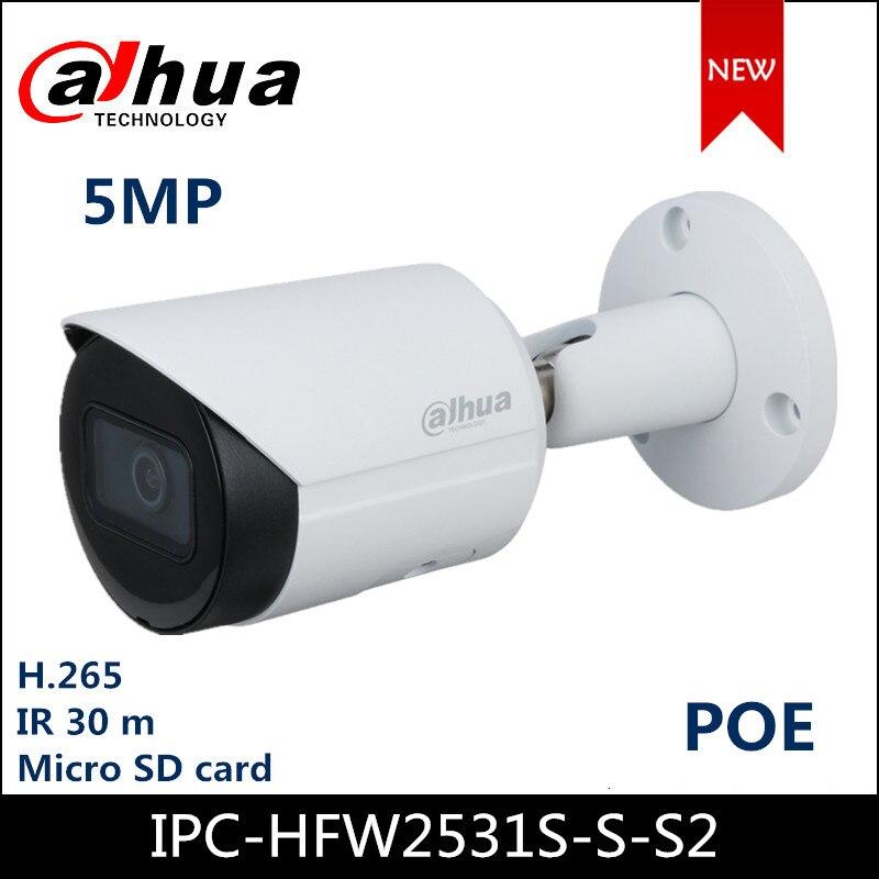 Dahua Poe IP Camera 5MP Lite IR Fixed-focal Bullet Network IP Camera IPC-HFW2531S-S-S2 H.265 Support SD Card