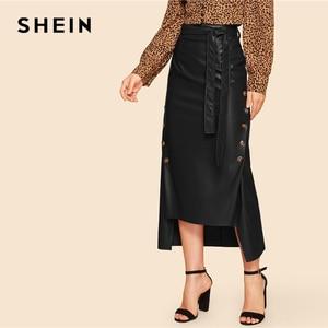 Image 4 - Shein marrom elegante divisão bainha frente duplo botão com cinto de couro olhar saia longa senhora do escritório sólido workwear maxi saias
