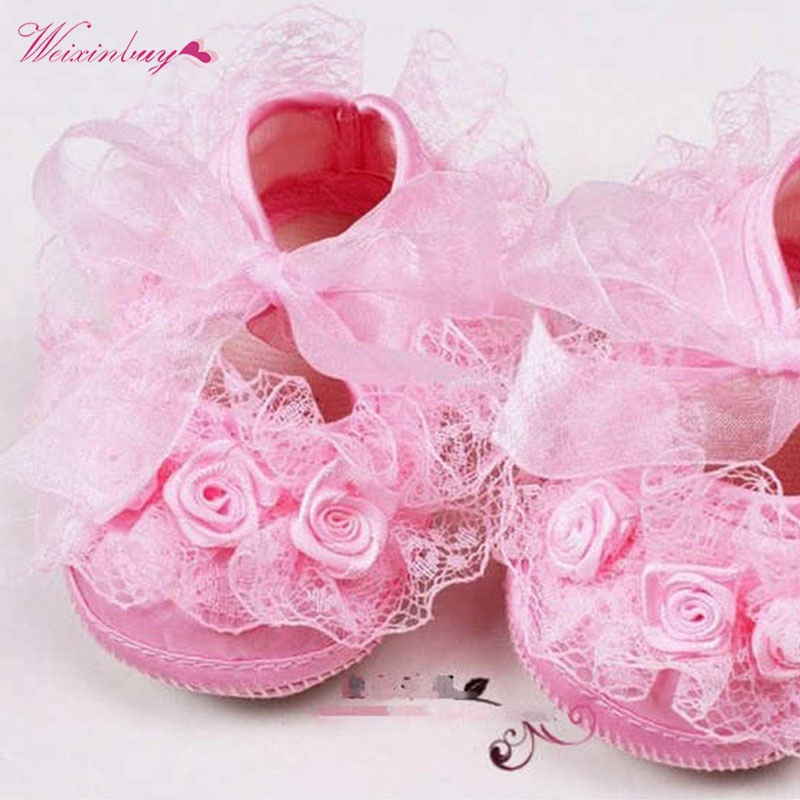 Baby Girls Shoes Lace Flower Toddler Infants Prewalker Kid Princess First Walker Size 1 2 3