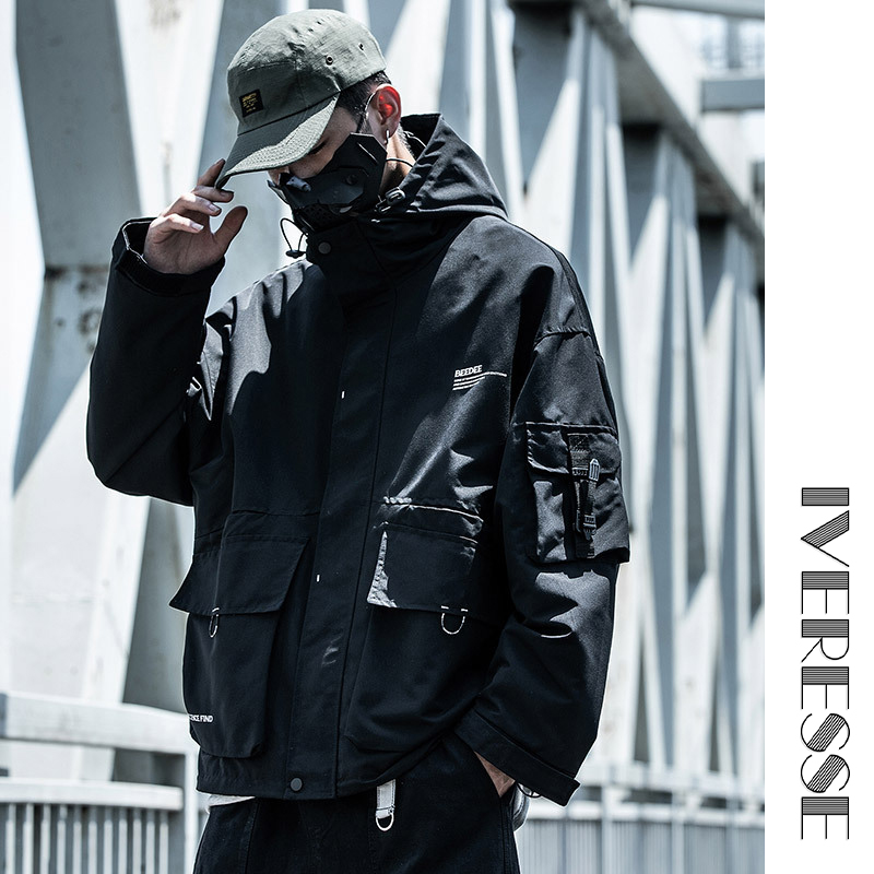 Hooded Letter Multi-Pocket For Men Tactical Hip Hop Cargo Techwear Jackets Coats Streetwear Cardigan Casual Bomber Outerwear