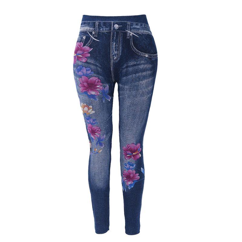 Slim Women Leggings Floral Print Pencil Faux Denim Jeans Casual Leggings S-3XL 449F