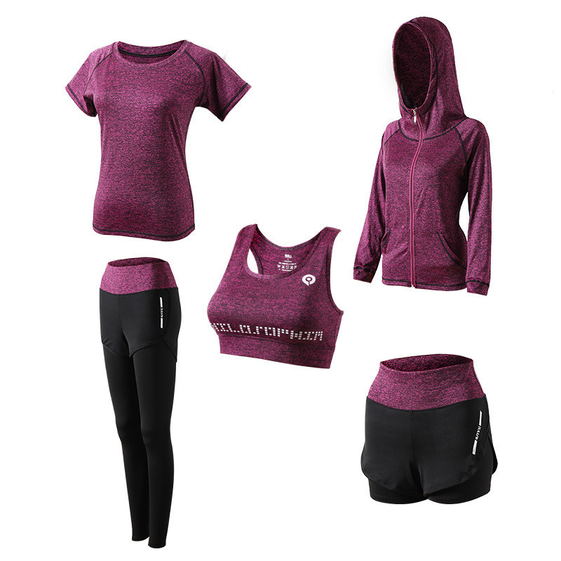 Yoga-Set T-Shirt Fitness-Bra Gym Clothing Sports-Suit Workout Running Women 5piece 1set