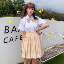 Japanese loli POLO collar short sleeve wild shirt high waist plaid pleated skirt lead knot JK uniform female summer
