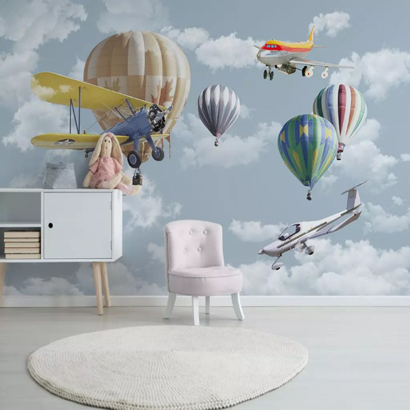 Scandinavian Minimalist Hand-Painted Cartoon Airplane Balloon CHILDREN'S Room Wall Kindergarten Early Childhood Cute Wallpaper M