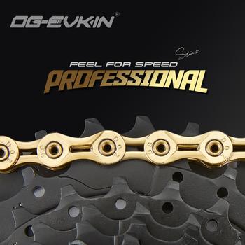 OG-EVKIN C01 rower sportowy łańcuch pełny i pół pusty 9s 10s 11 prędkość złoty srebrny wysoka czułość pół pusty łańcuch część rowerowa tanie i dobre opinie CN (pochodzenie) Gold Silver 9 10 11speed Half Hollow and Full hollow Chain 1800kg 9 10 11speed Mountain Bike Or Road Bike