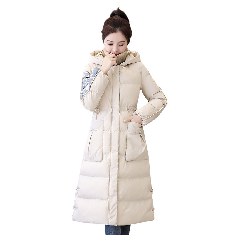 Retro Slim Down Cotton Women 2019 Autumn And Winter New Medium In Long Jacket Wild Casual Popular Hong Kong Style Cotton Coat568 - 2