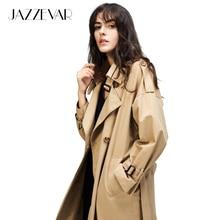 JAZZEVAR осенний женский тренч повседневный двубортный винтажный выстиранная верхняя одежда свободная одежда тренч длинный