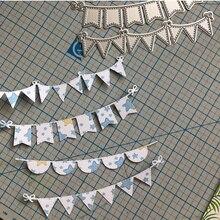 4 шт. треугольные круглые баннеры, штампы для скрапбукинга, металлические режущие штампы, трафареты для DIY альбомов, бумажных карт, декоратив...