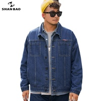 SHAN BAO-chaqueta vaquera para hombre, chaqueta clásica de bolsillo, informal, holgada, color negro, azul claro, 5XL, 6XL, 7XL, 8XL, otoño, 2021