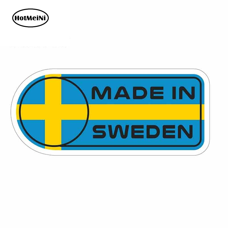 HotMeiNi 13cm X 5.7cm For Made In Sweden Flag Sign Car Stickers Vinyl JDM Windshield Bumper Windows Bumper Truck Graphics