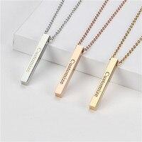 Quatre côtés gravure personnalisée barre carrée nom personnalisé collier en acier inoxydable pendentif collier femmes/hommes cadeau MNE180014