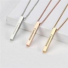Четыре стороны Гравировка Персонализированные квадратные Бар Пользовательское имя ожерелье из нержавеющей стали кулон ожерелье для женщин/мужчин подарок MNE180014