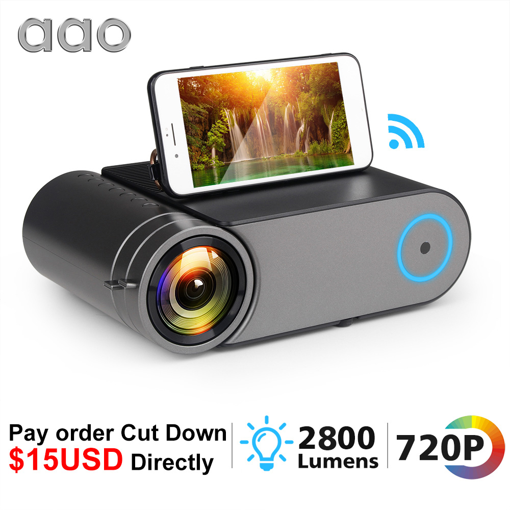AAO YG420 Mini LED 720P Projector Native 1280x720 Portable Wireless WiFi Multi Screen Video Beamer YG421